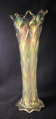 Lined lattice white carnival glass vase swung 10.25 Dugan excellent irridescence