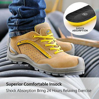 Men's Leather Breathable Anti-smashing Shoes Safety Shoes Work Boots Steel Toe