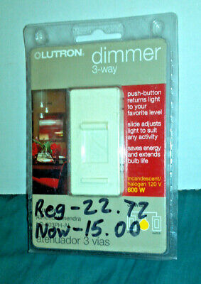 LUTRON DIMMER SWITCH 3 Way, White TG-603PH-WH - $11 99
