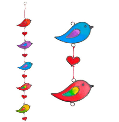 Home Decoration Beautiful Stained Glass Colourful Bird Window Hanging SunCatcher