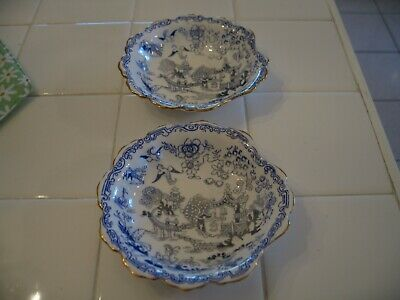 Beautiful Vintage Pair Royal Albert  Mikado Blue White Bone China Bowls England