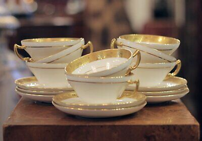 Set of 8 Gilt Bone China Cups & Saucers by Minton for Tiffany and Co.