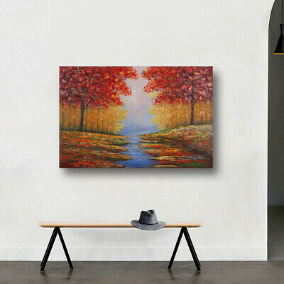 Hand Painted Modern Oil Painting On Canvas Art Stretched Framed Landscape Trees