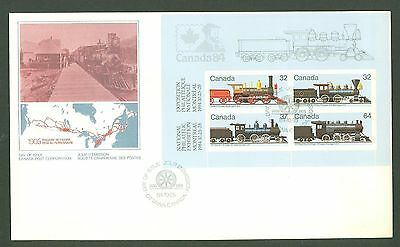 Large format E40 Canada 1984 FDC s/s Railroad old Locomotive Philately
