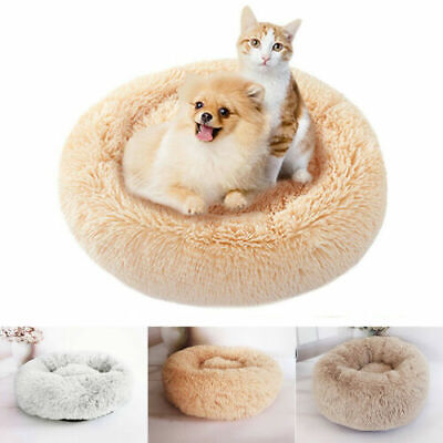 Pet Calming Bed Round Nest Warm Soft Plush Comfortable