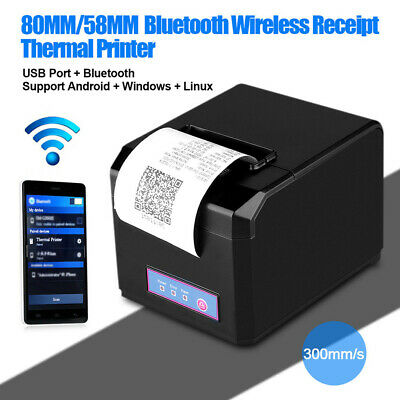 EXCELVAN 80MM/58MM SANS fil AUTO-CUT Thermal Receipt Printer Bluetooth +USB