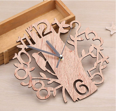 Home Office Decor 3D Round Shape Modern Wooden Tree Wall Clock Battery Operated