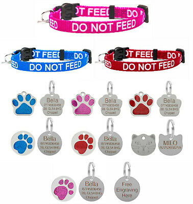 DO NOT FEED Cat Pet Collar In Red & Blue Safety Release & Optional Engraved Tag