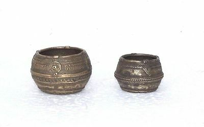 2 Pc Small Carved Bowls Old Vintage Antique Indian Brass Collectible PA-65