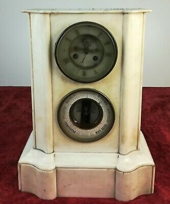 Chimney Shelf Clock In White Marble. Pert Bally. Xix Century. Paris