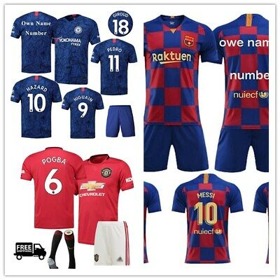 19/20 Kids Football Jersey Kits Soccer Suits Strip Sports Top Outfit Shirt Gifts
