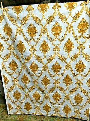 Vintage French Fabric Cotton 1960s Gold White Upholstery Cushions 1m70Lx1m30W
