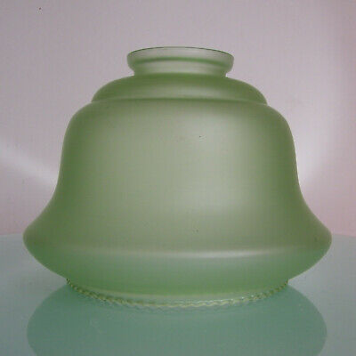 ANTIQUE ART DECO 1940's GREEN SATIN GLASS SHADE for TABLE LAMP / CEILING LIGHT