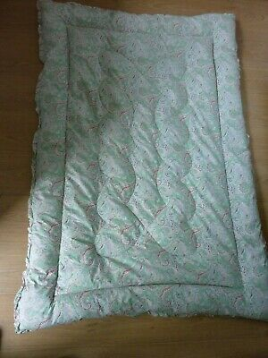 Vintage single feather filled eiderdown quilt paisley pattern spearmint