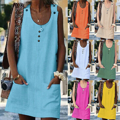 UK Womens Cotton Linen Shirt Dresses Sleeveless Pocket Ladies Summer Beach Dress