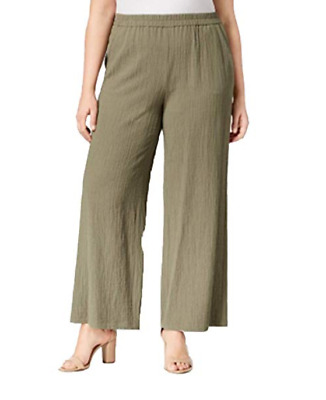 JM Collection Wide-Leg Pants Plus Size Textured Pull On Olive Sprig Womens 2X
