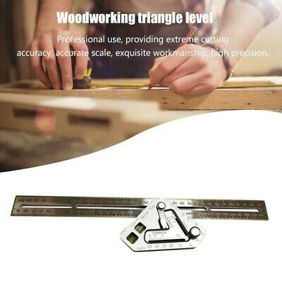 Woodworking Triangle Ruler Stainless Steel Measuring Tools Right Angle Level US