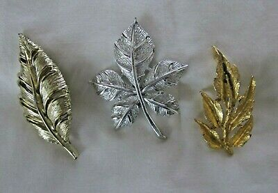 9646e08c2 Leaves Leaf Brooch Pin Lot Of 3 Gold Tone Silver Tone Costume Jewelry