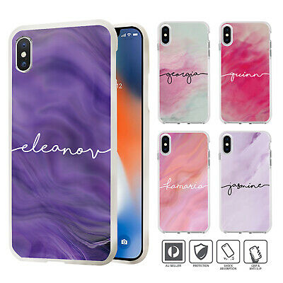 Personalised Name Marble 3 Case Cover For iPhone XS MAX XR X 8 7 SE 6 6S Plus 84