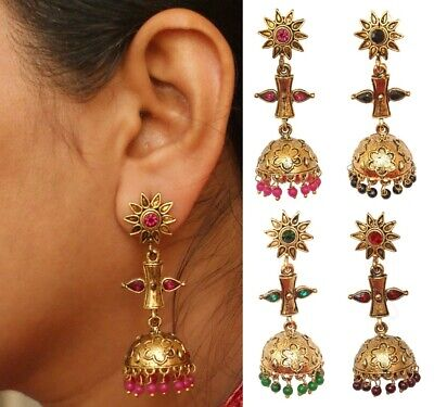 74818f9c1abe7 MULTI COLOUR & gold pearl jhumka earrings pakistani indian jewellery ...