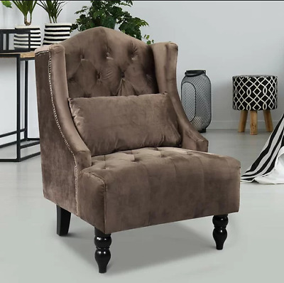 Antique French Armchair Brown Bedroom Furniture Shabby Chic Seat Vintage Fabric