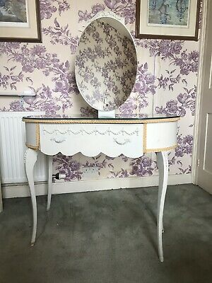 Fabulous Vintage French Louis Style Dressing Table With Mirror And Glass Top