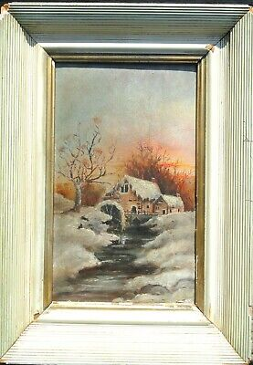 Cabin by a Lake in the Snow Oil on Board Painting Small Antique Excellent Cond.