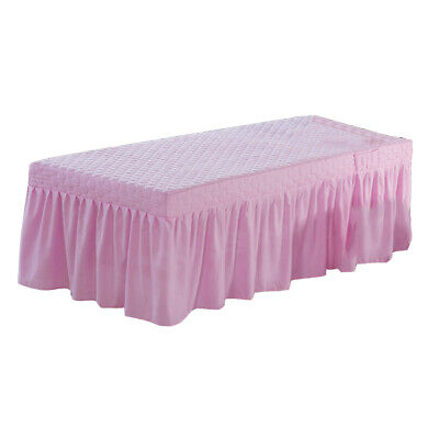 Salon Massage Bed Skirt Beauty Table Valance Sheet with Hole 185x70cm Pink