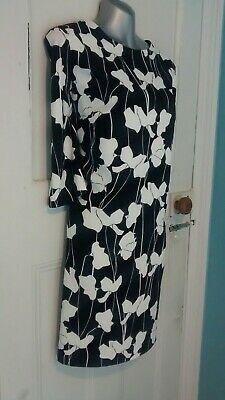 735230da9e14a Hobbs Size 16 Dress Black & White Floral Tunic Shift Wedding Outfit Occasion