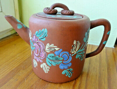 TEAPOT Chinese grès emaillé signed Théière CHINE yixing zhisa