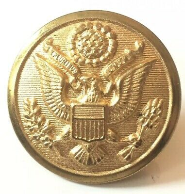 """US Army Brass Military 7/8"""" Button Great Seal & Eagle Scoville MF'G Co Waterbury"""