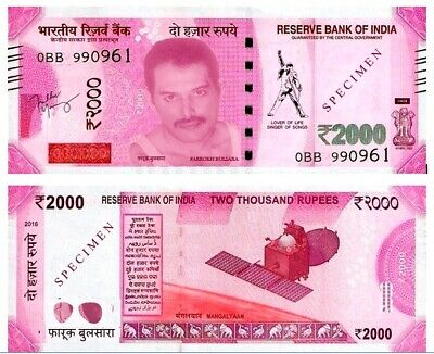 India, 2000 Rupees, Freddie Mercury private issue, uncirculated.