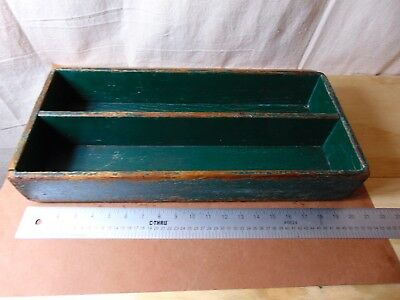 Vintage Carpenter's Painted Tray with a Divider in Old Gren Paint with Losses