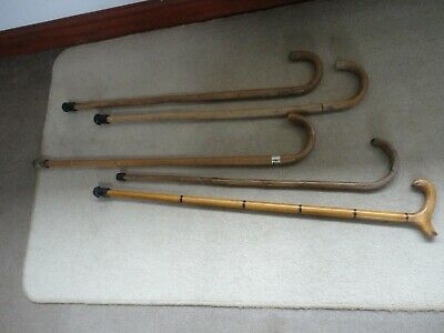 Job Lot Of Five Bentwood Walking Sticks  Good Condition Wooden Canes