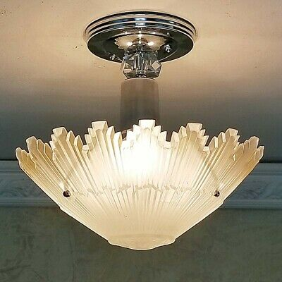643b Starburst Vintage arT Deco Ceiling Light Lamp Fixture Glass Re-Wired