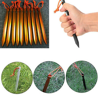 10PCS Aluminum Alloy Lightweight Tent Pegs Stake Nails Camping Trip Tent Peg RO