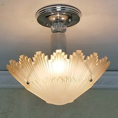644b Starburst Vintage arT Deco Ceiling Light Lamp Fixture Glass Re-Wired
