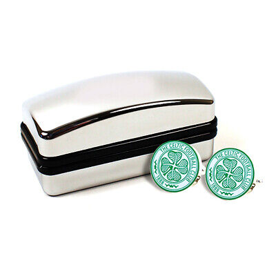 Celtic Fc Crest Cufflinks Cuff Links In Black Present Boxed New Gift Xmas