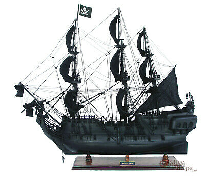 """Black Pearl Pirate Ship Ready Display Wooden Ship Model 37"""""""