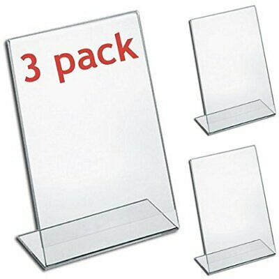 "MCB Plexi Acrylic 8.5"" X 11"" Single Slant Back Design Clear Sign Holder (3 Pack)"
