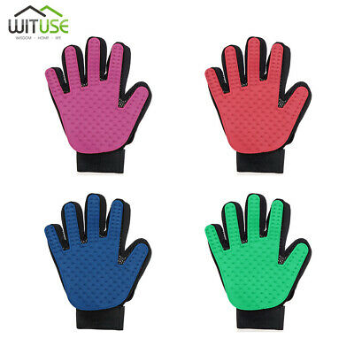 Pet Grooming Glove Gentle Massage Bath De-shedding Brush For Dogs Cats Horses F