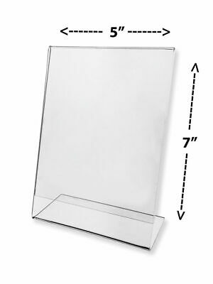 "Acrylic Slanted Sign Holders With Side Insert 5 X 7"" (Pack of 3)"