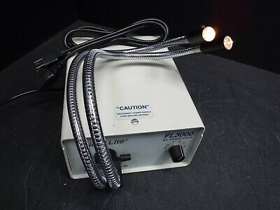Used Micro-Lite FL3000-D Fiber Optic Lab Light Source w/Dual Flex Light K6