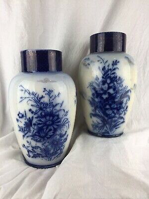 Pair Of Antique Blue And White And Gilded Vases Japanese Asian Chinese