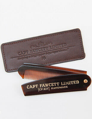 Captain Fawcett Folding Pocket Beard Comb (CF.82T) 82T with Leather Case