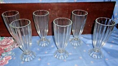6 Excellent Thick 1940's Soda Fountain Dessert,malt,floats Glasses On Pedestal