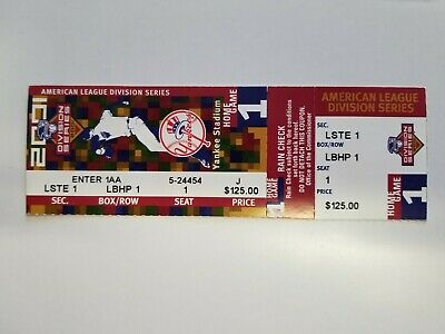 2001 American League Division Series NY Yankees Game 1 Ticket, Mayors Seat LBHP1