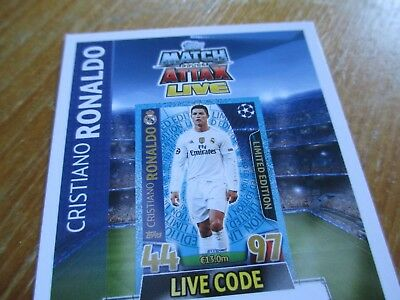 Match Attax Champions League 15/16 LE1 Cristiano Ronaldo Limited Edition Code