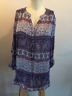 cfba51d182d Db Established 1962 Polyester Blouse Tunic Y Neck Roll Tab Sleeves Paisley  Sz M