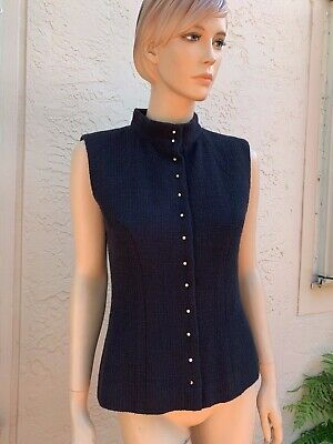 Chanel Black Wool Cotton Sleeveless Top Vest With Pearl Buttons Sz 40